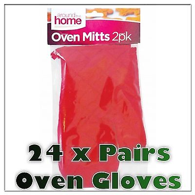 24 x WHOLESALE JOB LOT 2Pk Padded Oven Gloves Kitchen Mitts Cotton Red Washable