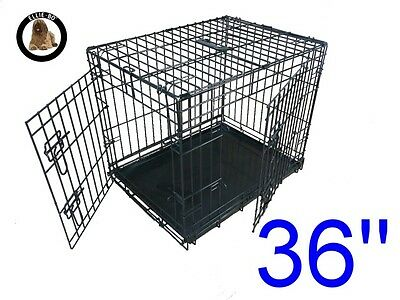 """Ellie-Bo 36"""" Large Dog Puppy Pet Cage Folding Carrier Crate In Black"""