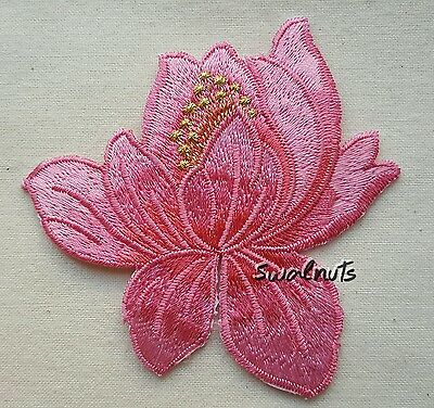 Dark PINK Iron on Transfer Lotus flower Embroidered Patch Applique Motif Badge