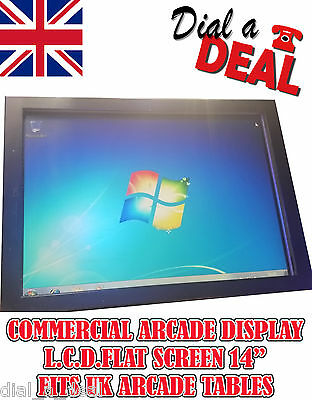 "14"" Commercial Grade Lcd Monitor Fits Uk Space Invader Tables"