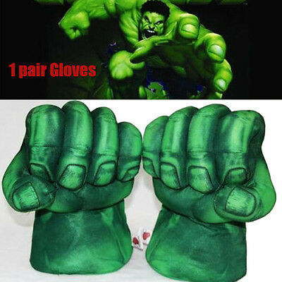 2x High Quality Hulk Smash Hands Plush Punching Boxing Fists Gloves Cosplay New