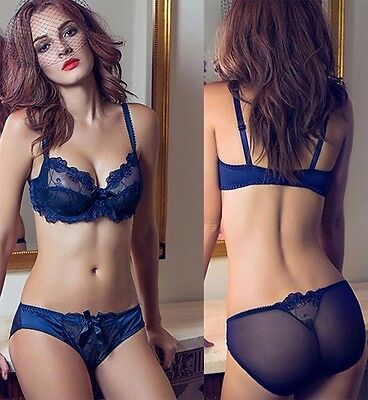 UK Ladies Lace Floral Embroidery Bra Knicker Sets Gorgeous Lingerie 32-42 ABCDDE