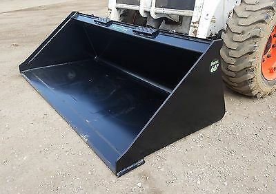 "Brand New Powder Coated 66"" Smooth Bucket For Skid Steer Loader - Free Shipping"