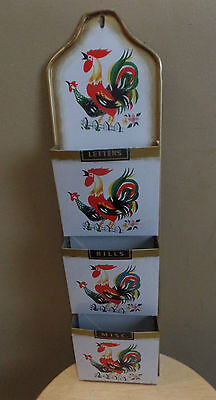 Vintage ROOSTERS Metal Three Compartments MAIL Letter HOLDER/Organizer ~Japan
