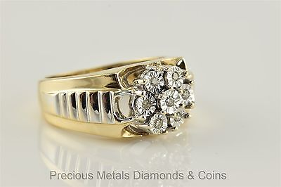 Men`s 10k Yellow & White Gold Diamond Accented Cluster Watchband Ring Sz: 10.5