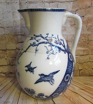 Antique Aesthetic Movement Transferware Large Pitcher Blue Rangoon FJ Emery 1880