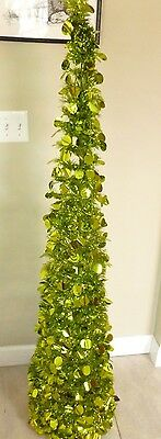Holiday Time 5 ft. Collapsible Tinsel Christmas Tree Bright Green Color