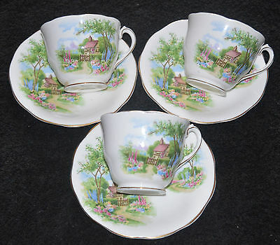 Vintage Queen Anne China  Tudor Cottage SET OF 3 CUPS AND SAUCERS .... Wedding