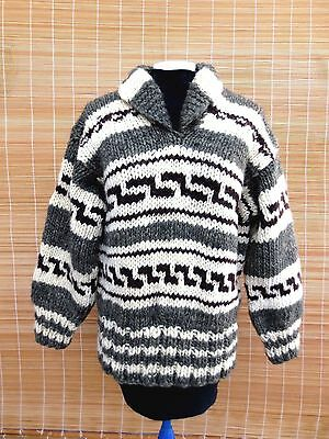 Vintage Authentic Cowichan Pullover Sweater Ladies Size S Salish First Nations