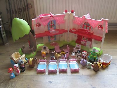 Elc Happyland Cherry Tree Cottage With Figures Furnitre & Lots Of Extras