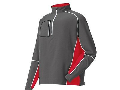 New! FootJoy Windshell Mid Layer Pullover - M,L,XL - Charcoal/Red/White
