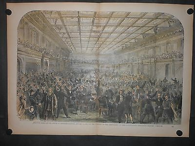 Scarce Abolish Slavery Constitution 1865 Engraving Hand Colored