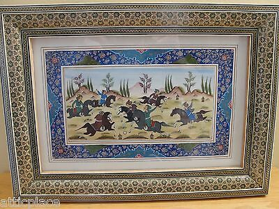 Signed Persian Khatam Marquetry Framed Painting - Polo Game