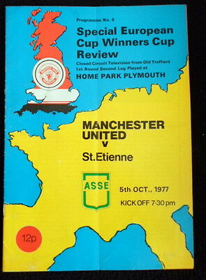 Manchester United  v  St Etienne   E.C.W.C. 1 rd  Closed Circuit tv  5-10-1977