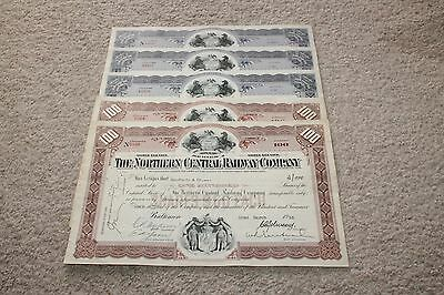 Lot of 5 Authentic 1950's The Northern Central Railway Company Stock Certificate