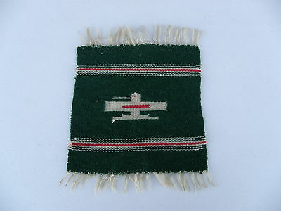 Vintage American Thunderbird Miniature Rug Green Red White 10 x 10 Inch FREE 48