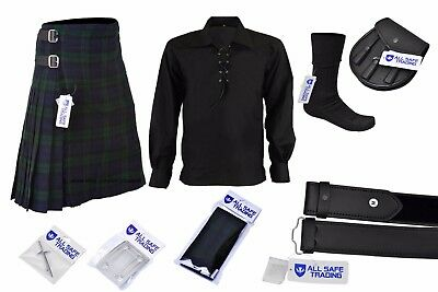 Mens Scottish 6 Piece Casual Kilt Outfit with Sporran, Black Watch Tartan Kilt
