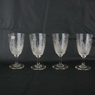 4 Georgian Antique Etched Wine Glasses, Glass Early Hand Blown Glasses Lily