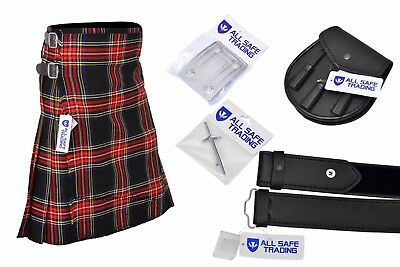 Mens Scottish 6 Piece Casual Kilt Outfit with Sporran, Macgregor Tartan Kilt