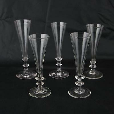 5 Antique Georgian Ale Glass Hand Blown Champagne Flutes Glasses Early English