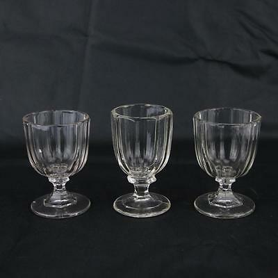 3 Antique Glass Small Huber Goblets Hand Blown Rare