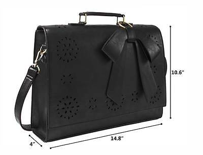 Women Faux Leather Bag Briefcase Shoulder Laptop Messenger Bags Black Coach