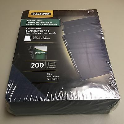 """Fellowes Heavy Weight Binding Covers Oversized 8.75"""" x 11.25"""" 200 Count Navy"""