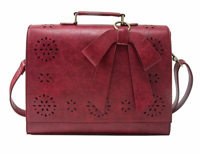 Women Faux Leather Bag Briefcase Shoulder Laptop Messenger Bags Red Coach