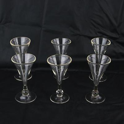 6 Antique Georgian Glass Ale Glasses Hand Blown LV75 Signed English