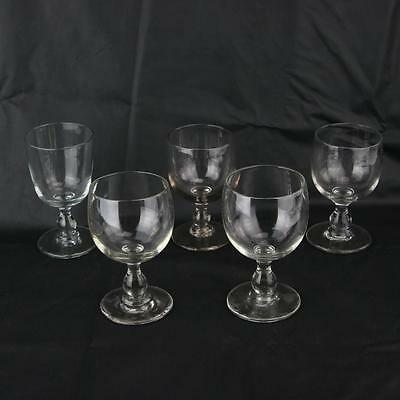 5 Large Georgian Glass Antique Drinking Glasses Early Hand Blown English c1800