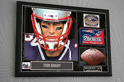 "Tom Brady Limited Edition 1-12 Framed Canvas Portrait Signed ""Great Gift"" A3"