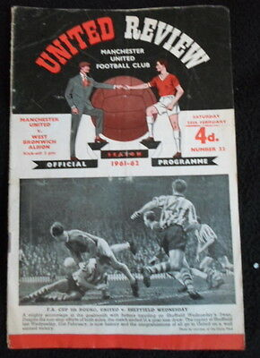 Manchester United v  West Bromwich Albion    24-2-1962