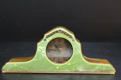 """Vintage Green Jeweled Celluloid Everbrite Vanity Clock ~ 3"""" Tall"""