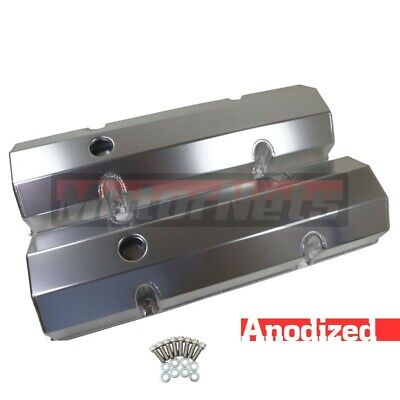 Bandit Valve Cover Set 7215A; Fabricated Satin Aluminum for Chevy SBC