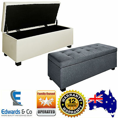 Large Blanket Box Ottoman Storage Linen Fabric Leather Foot Stool Toy Chest