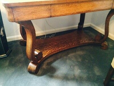 Exceptionnel Antique Tiger Oak Library Table