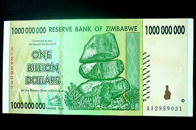 "ZIMBABWE ""UNC"" MINT $1,000,000,000 ONE BILLION DOLLARS NOTE ~ BIDS FROM ONLY 99p"