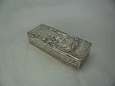 Embossed Sterling Solid Silver Trinket Box, Chester 1899