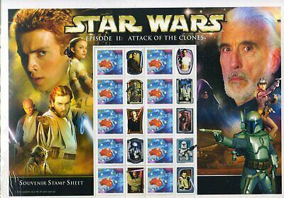 Star Wars Episode II Attack of the Clones Official Collectors Stamp Sheet