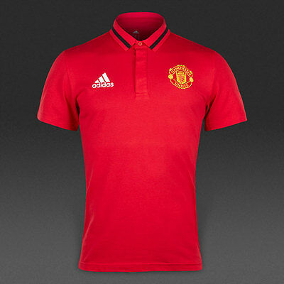 Manchester United Adidas Anth Polo Shirt Short Sleeves Red 2015/16 BNWT