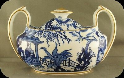 Royal Crown Derby Blue Mikado Covered Sugar Bowl circa 1922