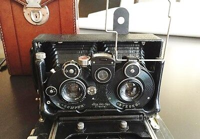 Antique Folding Camera Stereo Ica Dresden Carl Zeiss Tessar 6X13 Leather Case
