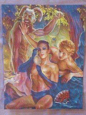 """ORIGINAL Nude Male Gay Interest Mixed Media Painting- """"The Pagan Lord"""""""