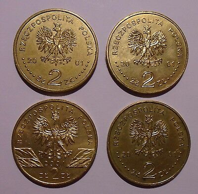 2001 - Poland - Lot of Four 2 Zlote  Coins