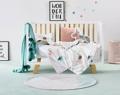 ADAIRS KIDS Unicorn Party Pastel COT (Jnr Bed) QUILT COVER SET BNIP
