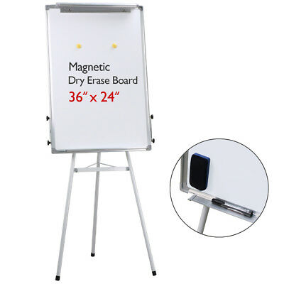 "Universal Adjustable Dry Erase Easel, 23.6 x 35.4"" White Board, Silver Frame"