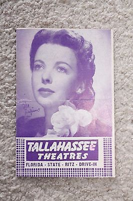 Vintage Tallahassee, FL Drive In Theater Advertising Phamplet Westerns