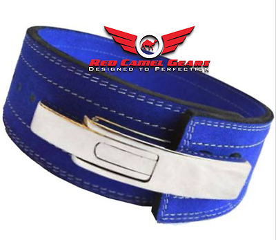 Weight Power Lifting Leather Lever Pro Belt Gym Training Powerlifting Blue