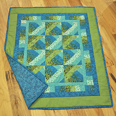 "New Handmade Baby Quilt Blanket Throw Turquoise & Green  40.5"" x 34.5"""