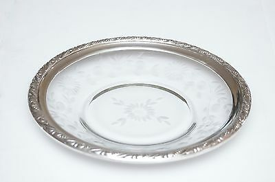 "WEBSTER Co Sterling Silver Rimmed Etched Glass 9"" Plate"